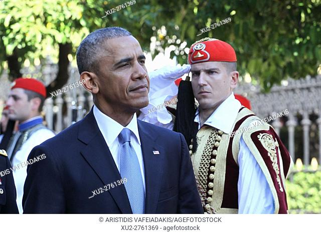 US President Barack Obama and his greek counterpart Prokopis Pavlopoulos review the Presidential Guard in Athens. President Barack Obama arrived in Greece...
