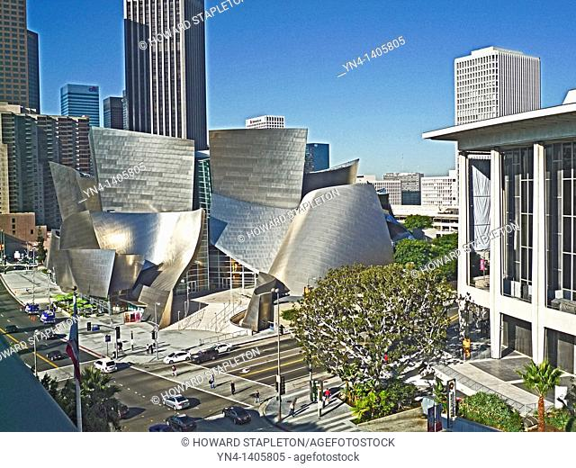 Walt Disney Concert Hall and Downtown Los Angeles. Disney Hall was designed by architect Frank Gehry. Dorothy Chandler Pavilion