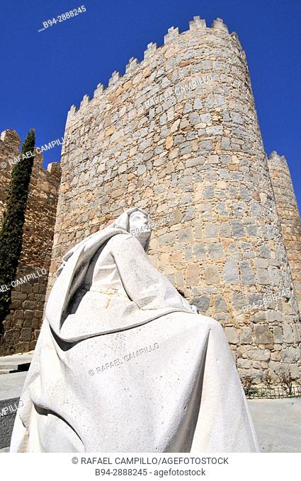 Statue of Santa Teresa of Jesus, Avila, UNESCO World Heritage Site, Spain