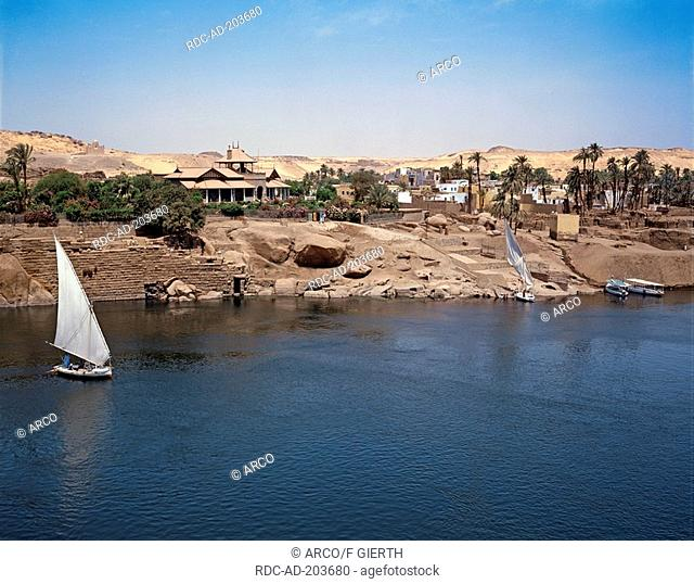 Sailing boat on river Nile, Aswan, Egypt, felucca, feluccas