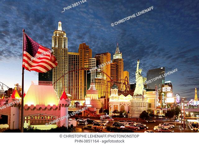 USA. Nevada. Las Vegas. Las Vegas Boulevard. Casino New York at night
