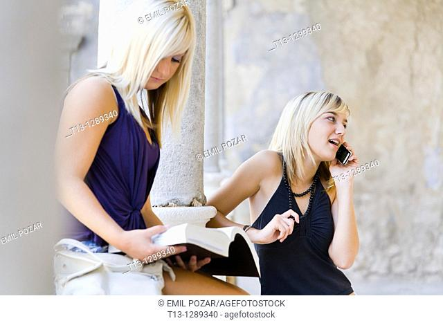 One girl is studying another is talking on the cellular phone