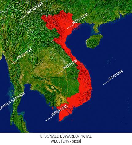 Highlighted satellite image of Vietnam