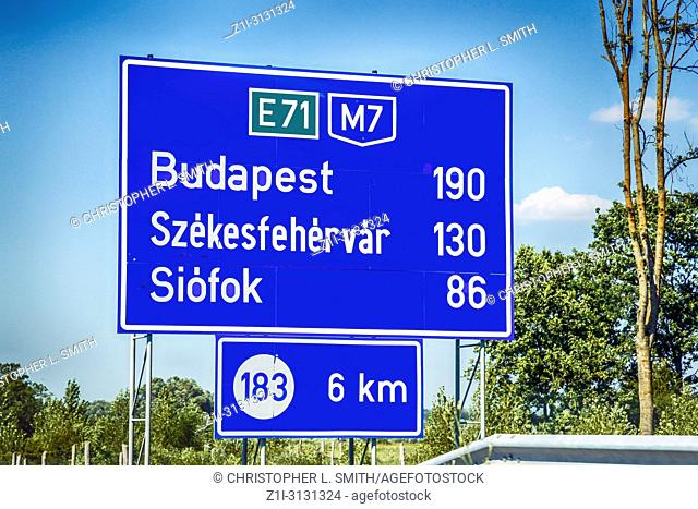 Mile marker on the M7 E71 Hungarian freeway, 180km to Budapest