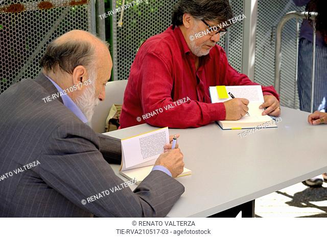 """Carlo Petrini, Luis Sepùlveda attends the presentation of the book """"""""living for something"""""""", Turin, 21/05/2017"""