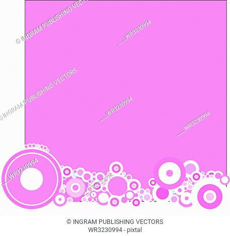 A magenta based background with a circular theme
