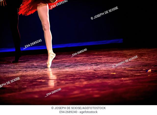 A single leg of a ballerina on toe during a dance performance