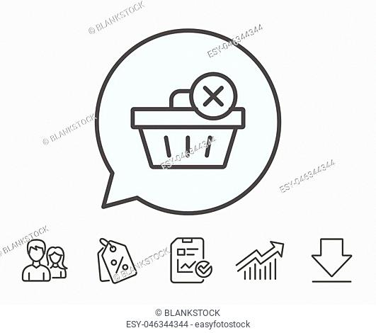 Remove Shopping cart line icon. Online buying sign. Supermarket basket symbol. Report, Sale Coupons and Chart line signs. Download, Group icons