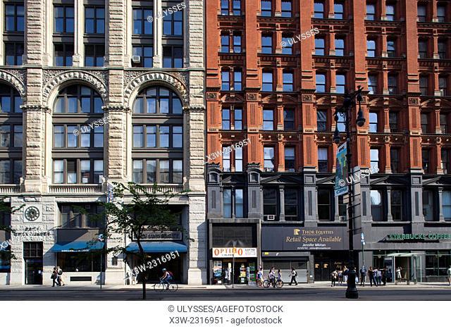 buildings in city hall park, south Manhattan, New York, Usa, America
