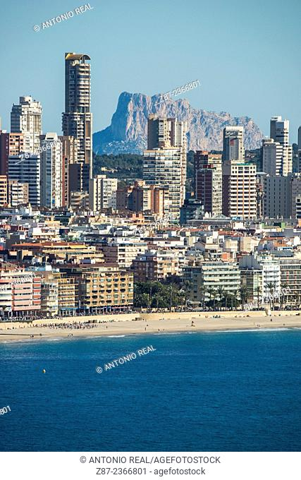 Benidorm and Peñón de Ifach rock in background, Alicante province, Comunidad Valenciana, Spain