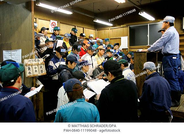 The frozen Tuna auction is in full swing at Tsukiji fish market in Tokyo, Germany, 16 November 2007. The daily auction is held in the mornings between five and...