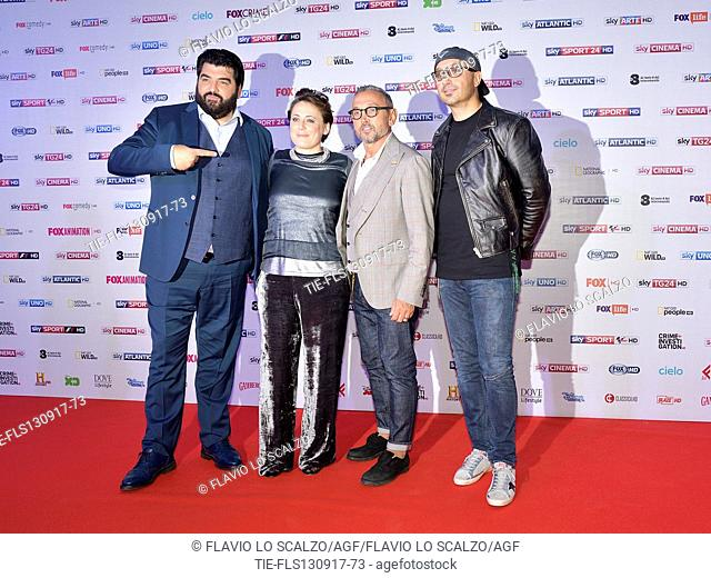 Jury of Masterchef Italia Antonino Cannavacciuolo, Antonia Klugmann, Bruno Barbieri and Joe Bastianich during the photocall Sky, Milan, ITALY-12-09-2017