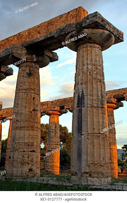doric columns, Temple of Hera, archaeological park, Paestum, Italy