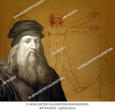 Drawing The Vitruvian Man, in front Leonardo da Vinci, Italian painter, sculptor, architect, engineer, historical illustration