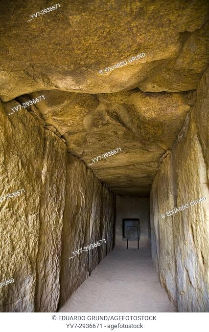 Corridor of Dolmen of Viera, recently named Unesco World Heritage Site, in the background is the access to the burial chamber, Antequera, Malaga, Andalusia