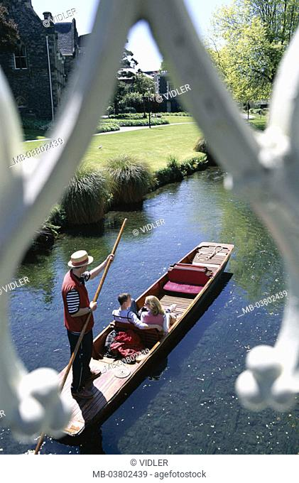 New Zealand, South island, Christchurch, Avon River, tourists, boat trip,  from above Region Canterbury, waters, river, gondola, gondolier, couple
