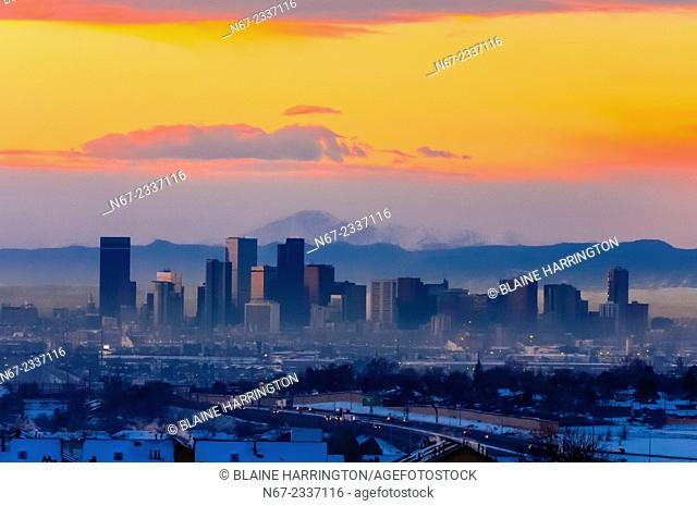 Downtown Denver with Pikes Peak in background, Colorado USA
