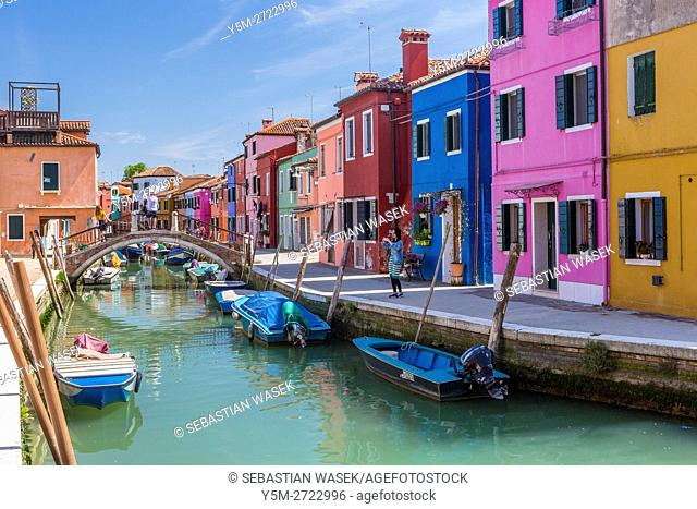 Colored houses at Rio di Terranova, Burano, Veneto, Italy, Europe