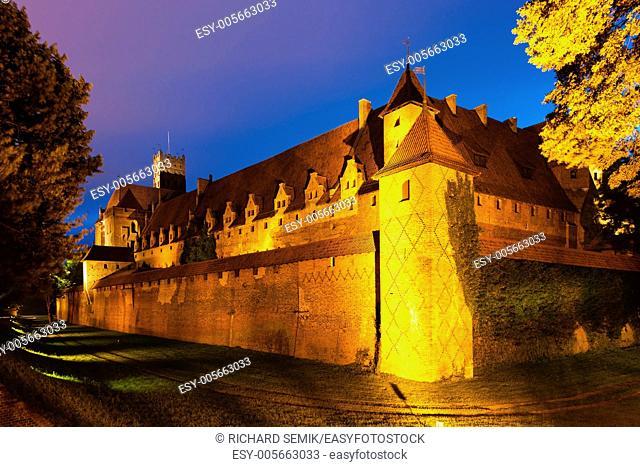 Malbork at night, Pomerania, Poland