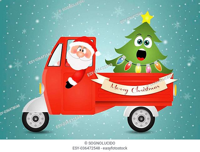 illustration of Santa Claus in van with Christmas tree