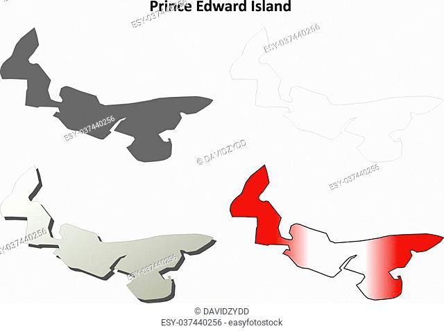Prince Edward Island province blank vector outline map set