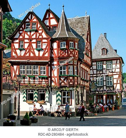 Old half-timbered house, Bacharach, Rhineland-Palatinate, Germany / wine restaurants