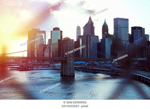 Cityscape view of New York at sunset