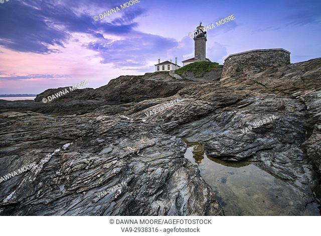 Beavertail Lighthouse at Sunset, Jamestown, Rhode Island