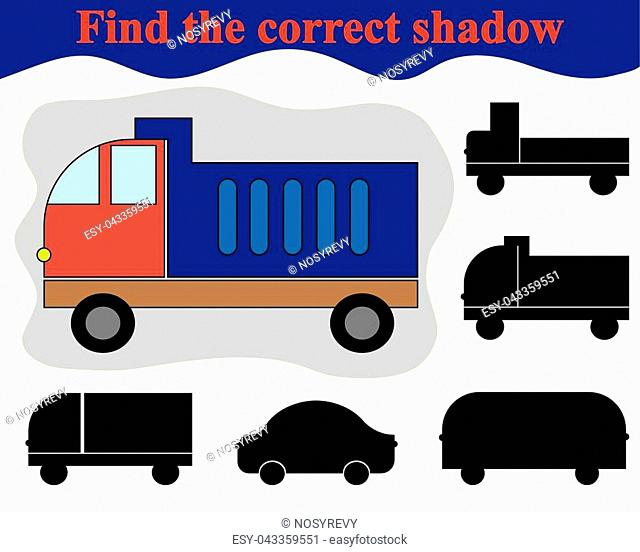 Educational game for children. Find the correct shadow of dump truck. Vector illustration