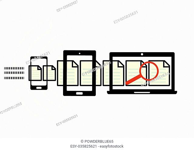 Mobile device set icon with website analytics search information and computing data analysis concept