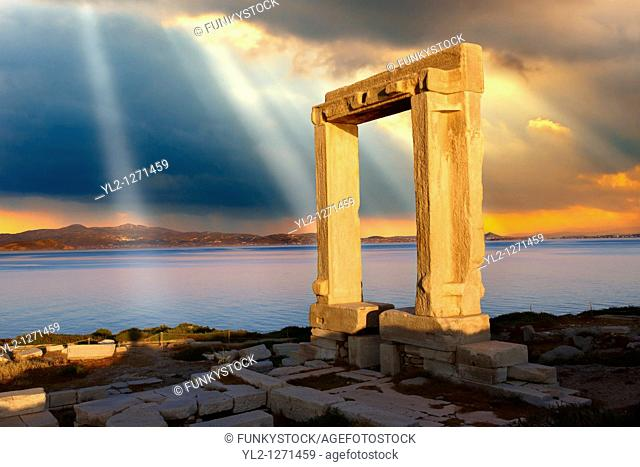 Doorway of the ruins of the Temple of Apollo  Naxos, Greek Cyclades Islands