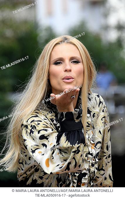 The showgirl Michelle Hunziker arrives at Darsena of Hotel Excelsior, 73rd Venice Film Festival, Venice-ITALY-05-09-2016