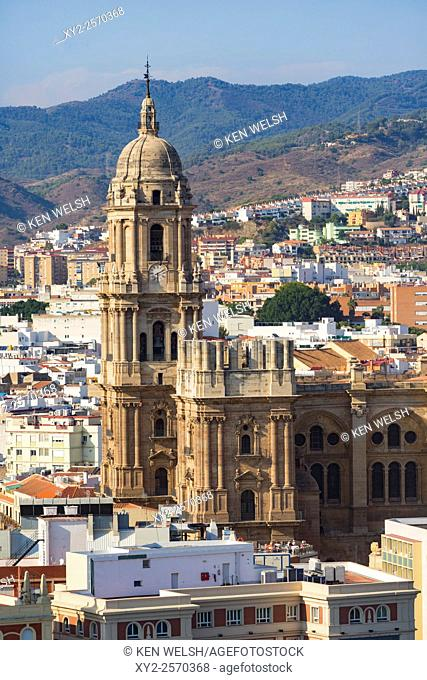 Malaga, Costa del Sol, Malaga Province, Andalusia, southern Spain. High view of city centre showing cathedral which is known as La Manguita, the One Armed Lady