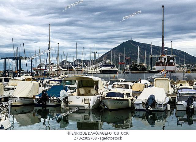 A boat file in the Altea port, Alicante province, Spain