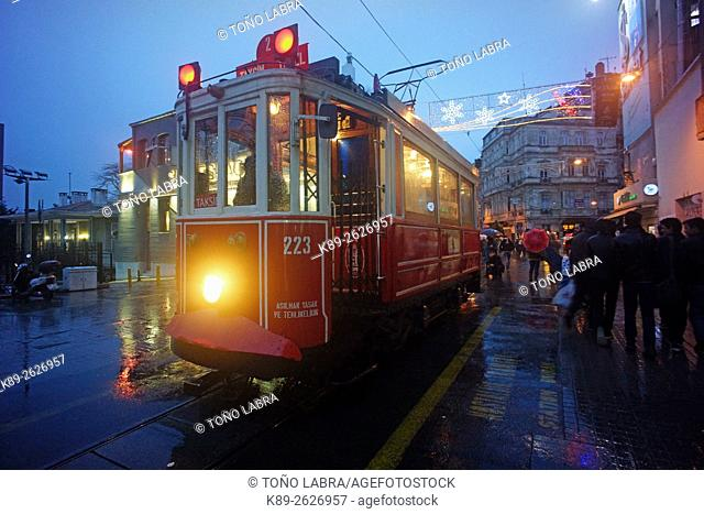 Nostalgic tram. Istiklal. Beyoglu. Istanbul. Turkye