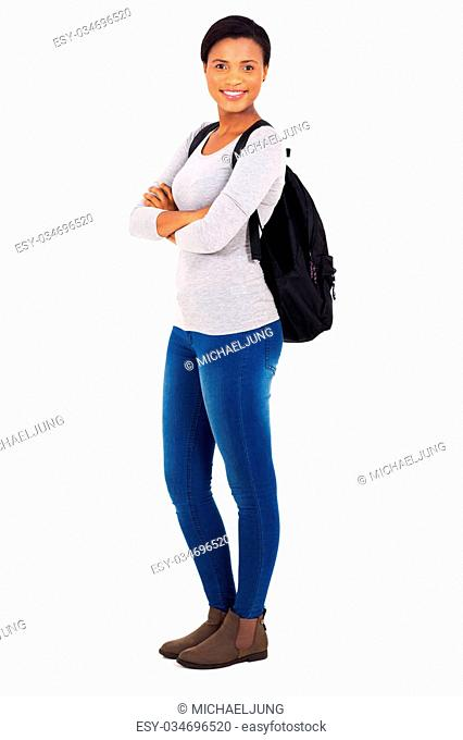 9a31edda3e smiling young african college student with arms crossed isolated on white  background