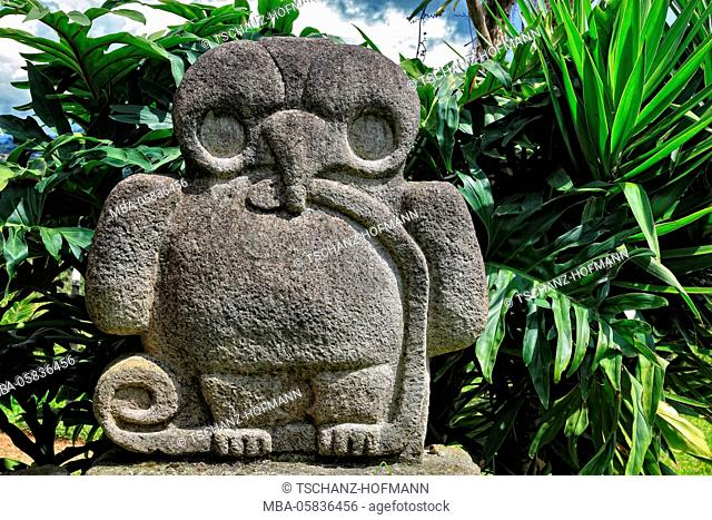Republic Colombia, San Agustin, Departamento Huila, archaeological excavation site, statue, prehistorically, lava