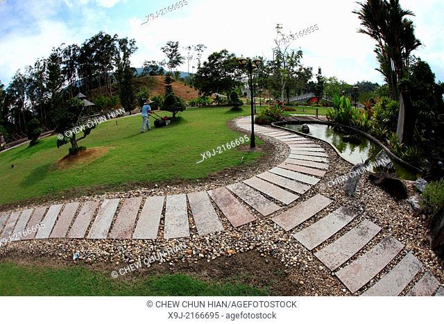 Screen of Kuching Buddha park and marbble artwork, Kuching Buddhist society, Kuching, Sarawak, Malaysia