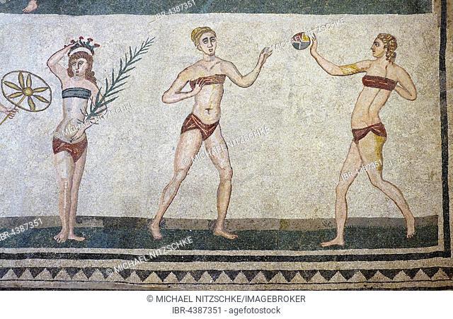 Bikini girls, antique floor mosaic, Villa Casale, Villa Romana del Casale, Piazza Armerina, Sicily, Italy