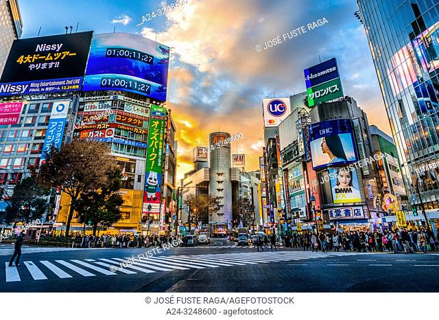 Japan,, Tokyo City, Shibuya Ward, Hachiko Crossing