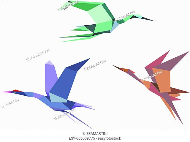 Herons, cranes and storks in origami style isolated on white background