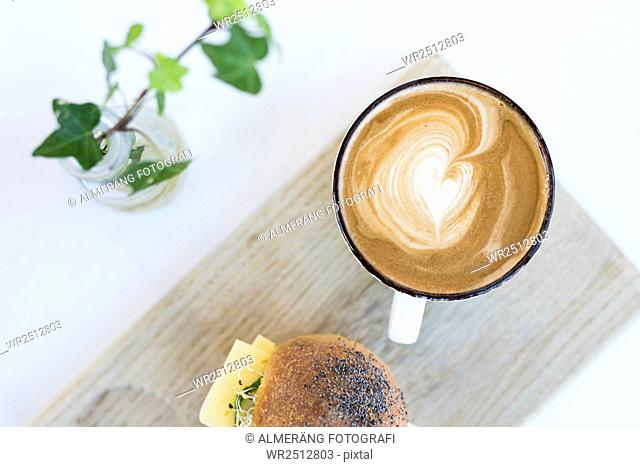 Cappuccino and sandwich