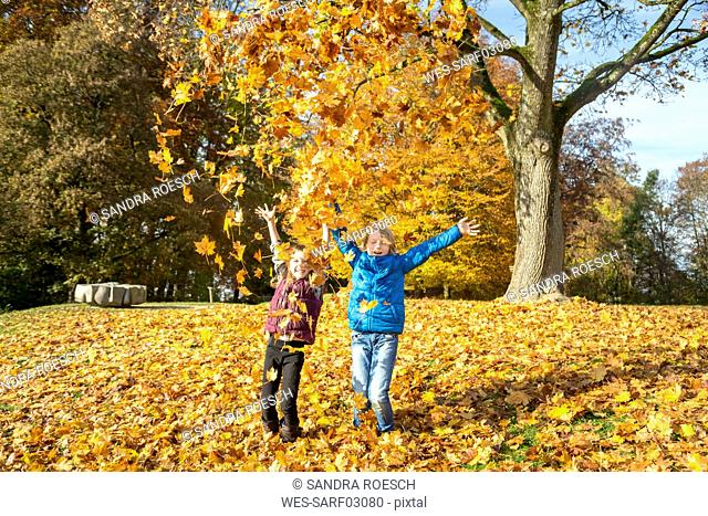 Brother and sister throwing autumn leaves in the air