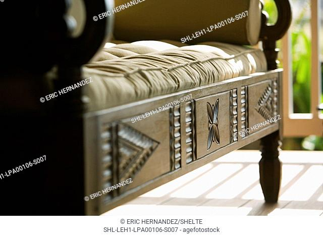 Hand Carved wooden bench with cushions