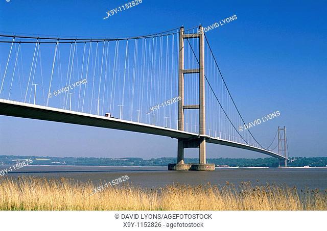 The Humber Bridge over the River Humber near Hull, Humberside England  United Kingdom