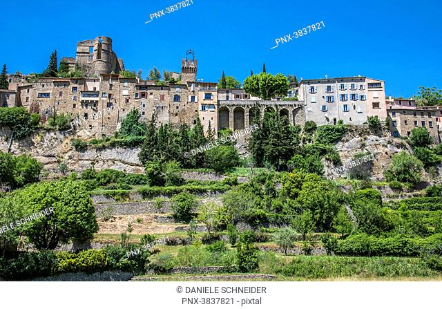 France, Drome, Regional park of Baronnies provencales, medieval perched village of Montbrun-les-Bains (Plus Beau Village de France - Most Beautiful Village of...