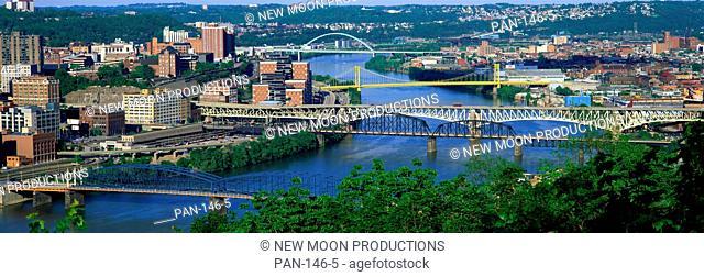 Skyline and Monongahela River, Pittsburgh, Pennsylvania, USA