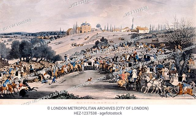 'Easter Monday', 1820; showing a crowd of figures with horses and carriages at Buckhurst Hill in Epping Forest, Essex, watching a small deer being turned out of...