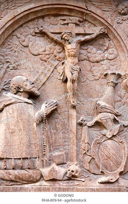 Sculpture outside Frauenkirche, Munich, Bavaria, Germany, Europe
