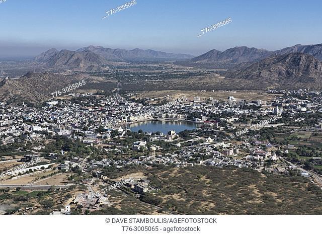 Aerial view of Pushkar and its holy lake from Savitri Mata, Pushkar, Rajasthan, India